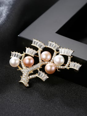 Pure Silver Natural Freshwater Pearl zircon crotch Brooch