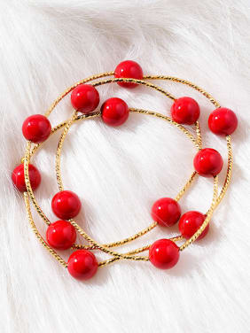 Alloy With Gold Plated Casual red Ball Bracelets
