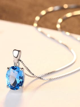 Sterling silver sky blue semi-precious stones minimalist necklace
