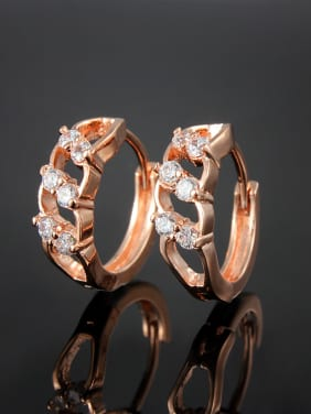 Creative Rose Gold Plated White Zircon Clip Earrings