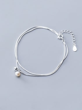 925 Sterling Silver With Platinum Plated Simplistic Round Multi-layer Bracelets
