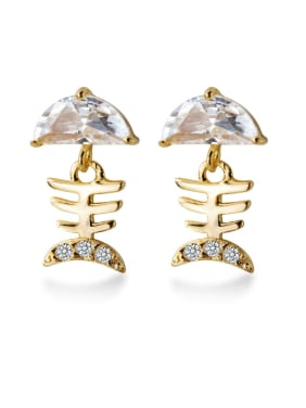 925 Sterling Silver With Cubic Zirconia Simplistic fish bones Stud Earrings