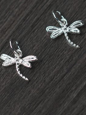 925 Sterling Silver With Silver Plated Cartoon dragonfly Pendant