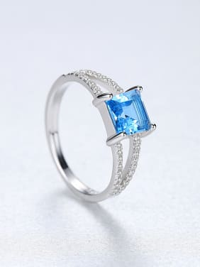 Sterling silver micro-inlaid zircon blue square synthetic topaz ring