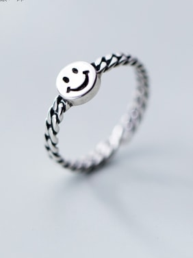 925 Sterling Silver With Rhodium Plated Cute smile Face Rings