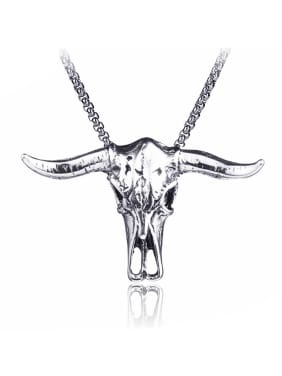 Stainless Steel With Antique Silver Plated Personality beef bones Necklaces