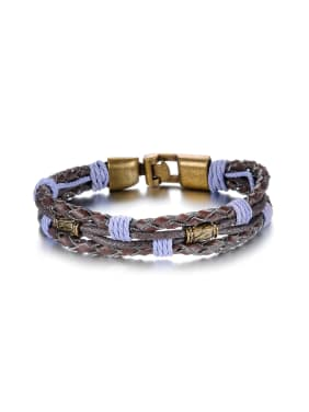 Fashion Purple Braided Rope Artificial Leather Men Bracelet