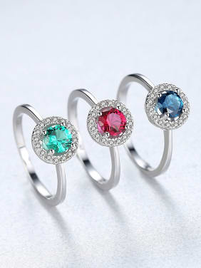 Sterling silver fashion high-end multicolor  treasure ring