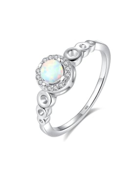 925 Sterling Silver With Opal  Simplistic Round Band Rings
