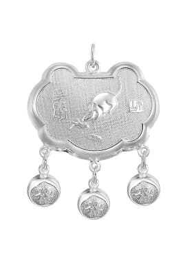 Ethnic style 999 Silver Zodiac Rat Children Bells Longevity Lock Pendant
