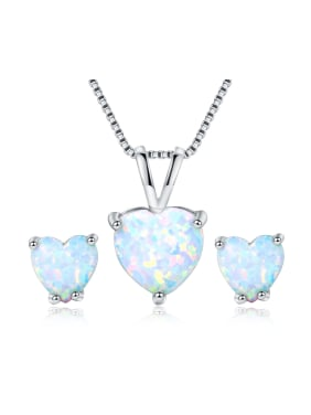 Heart-shaped White-Opal platinum-plated necklace earrings 2 sets