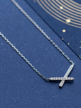 925 Sterling Silver With Silver Plated Simplistic x-letter Necklaces