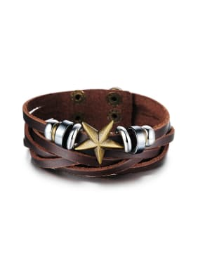 Retro style Brown Artificial Leather Star Men Bracelet
