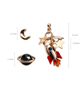 Alloy With Rose Gold Plated Fashion Planet Moon Plane Stud Earrings