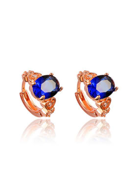 Blue Rose Gold Plated Rose Gold Plated Zircon Clip Earrings