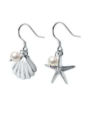 925 Sterling Silver With Artificial Pearl Fashion Starfish seashell Hook Earrings