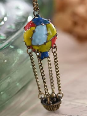 Hot Air Balloon Shaped Enamel Necklace