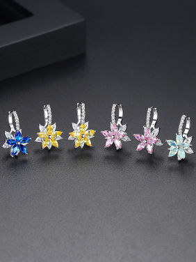 3A zircon multicolor flower studs