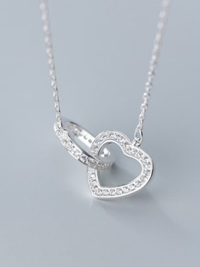 925 Sterling Silver With Platinum Plated Simplistic Heart Necklaces