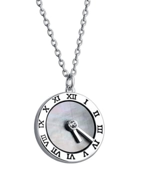 925 Sterling Silver With Shell Roman digital clock  Necklaces