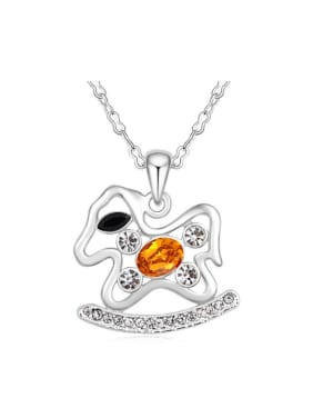 Personalized Rocking Horse Swarovski Crystals Pendant Alloy Necklace