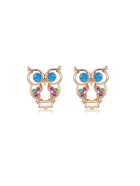 Lovely Colorful Austria Crystals Owl Shaped Stud Earrings