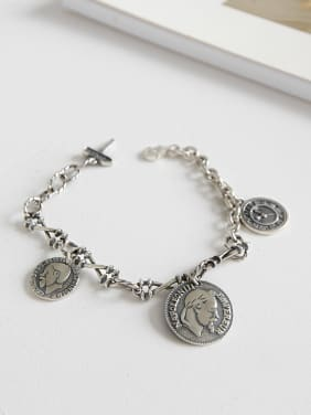 925 Sterling Silver With Antique Silver Plated Vintage Napoleon's head Bracelets