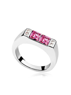 Simple Little Square Swarovski Crystals Alloy Ring