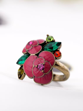 Ladies Rose Alloy Statement Ring