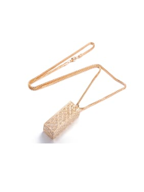 Alloy Cuboid Shaped Zircon Necklace