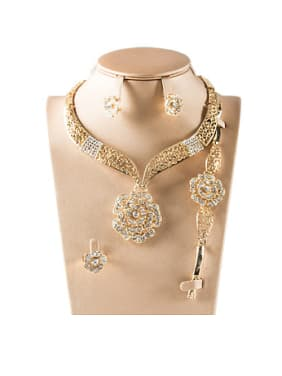 18K Flower Rhinestones Four Pieces Jewelry Set