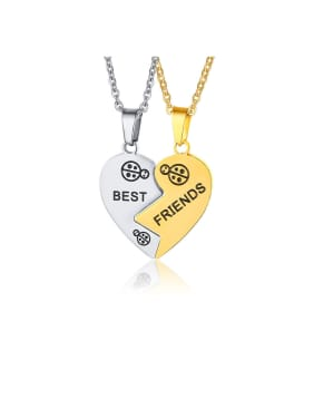 Stainless Steel With English Alphabet Simplistic Heart Necklaces