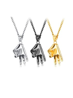 Titanium With Smooth Personality Gesture OK Mens Pendants