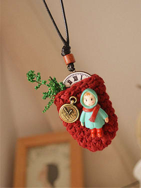 Cute Polyester Bag Shaped Necklace