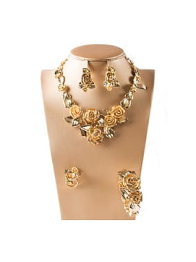 Flowers Rhinestones Colorfast Four Pieces Jewelry Set
