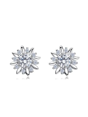 Tiny Cubic Swarovski Crystals Flowery 925 Silver Stud Earrings