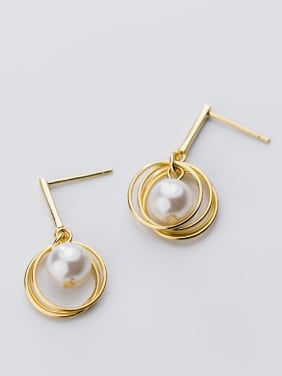 925 Sterling Silver With 18k Gold Plated Simplistic Round Drop Earrings