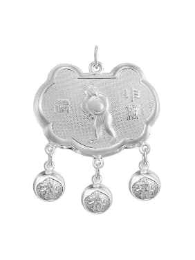 Ethnic style 999 Silver Zodiac Monkey Children Bells Longevity Lock Pendant