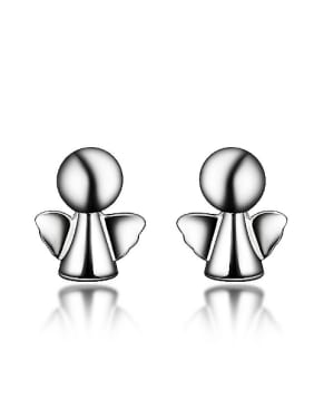 Little Simple Angel 925 Sterling Silver Stud Earrings