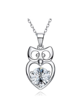 Simple Cubic Swarovski Crystal Little Owl Pendant 925 Silver Necklace