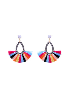 Colorful Fan-shape Women Stud drop earring