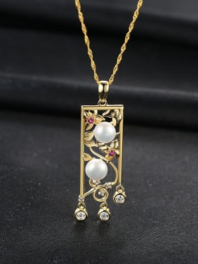 Sterling silver gold chinese style zircon natural pearl necklace