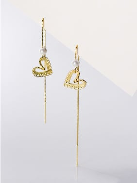 925 Sterling Silver With Artificial Pearl Simplistic Heart Tassel Earrings