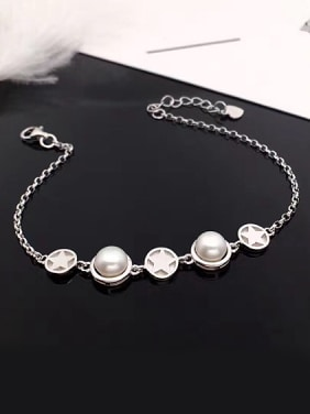 Fashion Freshwater Pearl Five-pointed Stars Bracelet