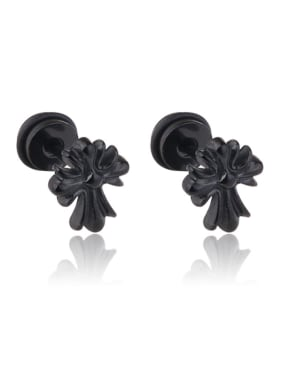 Stainless Steel With Black Gun Plated Trendy Cross Stud Earrings