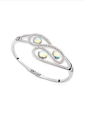 Fashion Shiny Swarovski Crystals Platinum Plated Alloy Bangle