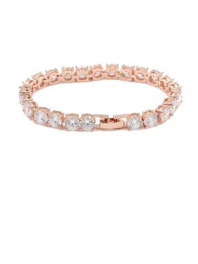 Copper With Cubic Zirconia  Delicate Round Bracelets