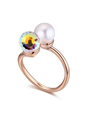 Personalized Imitation Pearl Swarovski Crystal Alloy Ring