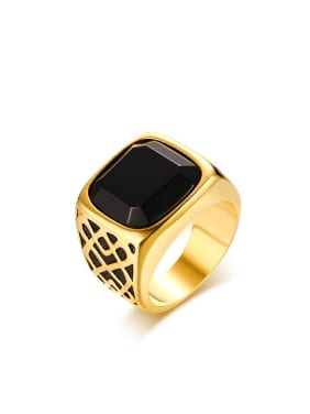 Trendy Black Square Shaped Gold Plated Carnelian Ring