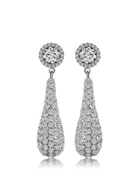 Copper Alloy White Gold Plated Fashion Creative Zircon drop earring